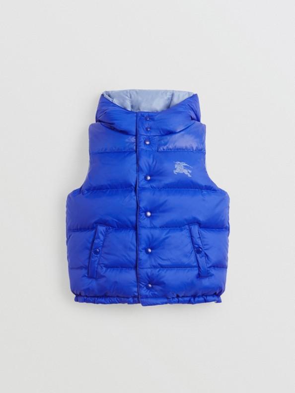 Gilet reversibile resistente alla pioggia con imbottitura e cappuccio (Blu Spettro Intenso)