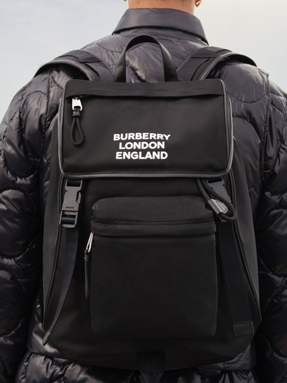 Logo Print ECONYL® Backpack in Black | Burberry United States - cell image 1