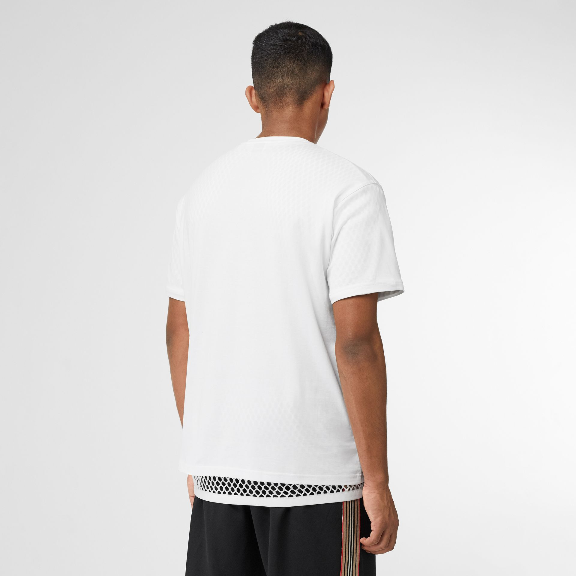 Monogram Motif Cotton Oversized T-shirt in White - Men | Burberry - gallery image 3