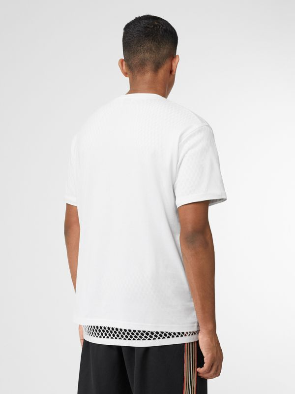 Monogram Motif Cotton Oversized T-shirt in White - Men | Burberry - cell image 3