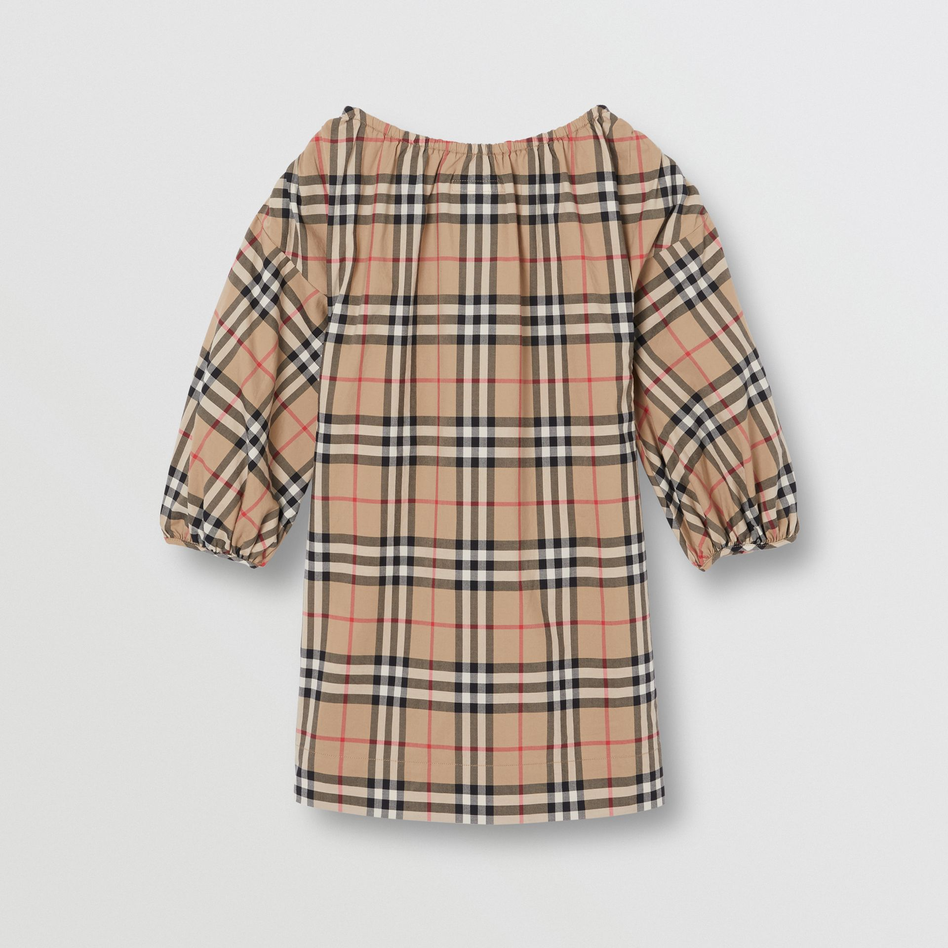 Gathered Sleeve Vintage Check Cotton Dress in Archive Beige | Burberry Singapore - gallery image 3