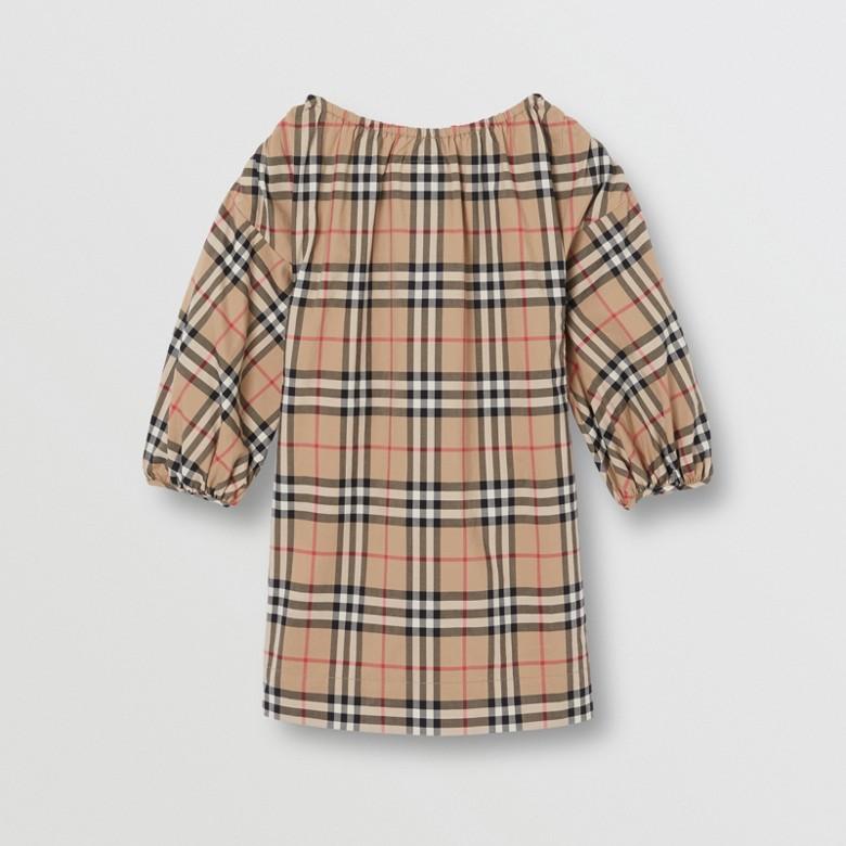 Burberry - Robe en coton Vintage check avec manches froncées - 4