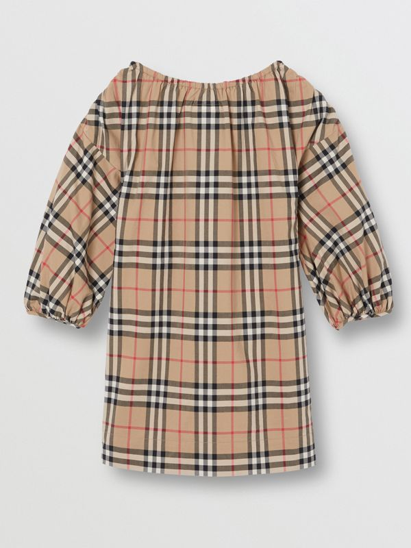Gathered Sleeve Vintage Check Cotton Dress in Archive Beige | Burberry Australia - cell image 3