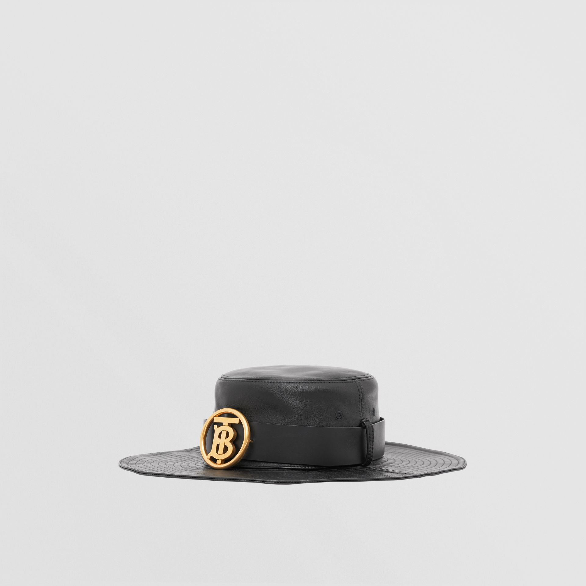 Monogram Motif Belt Detail Lambskin Desert Hat in Black | Burberry - gallery image 4