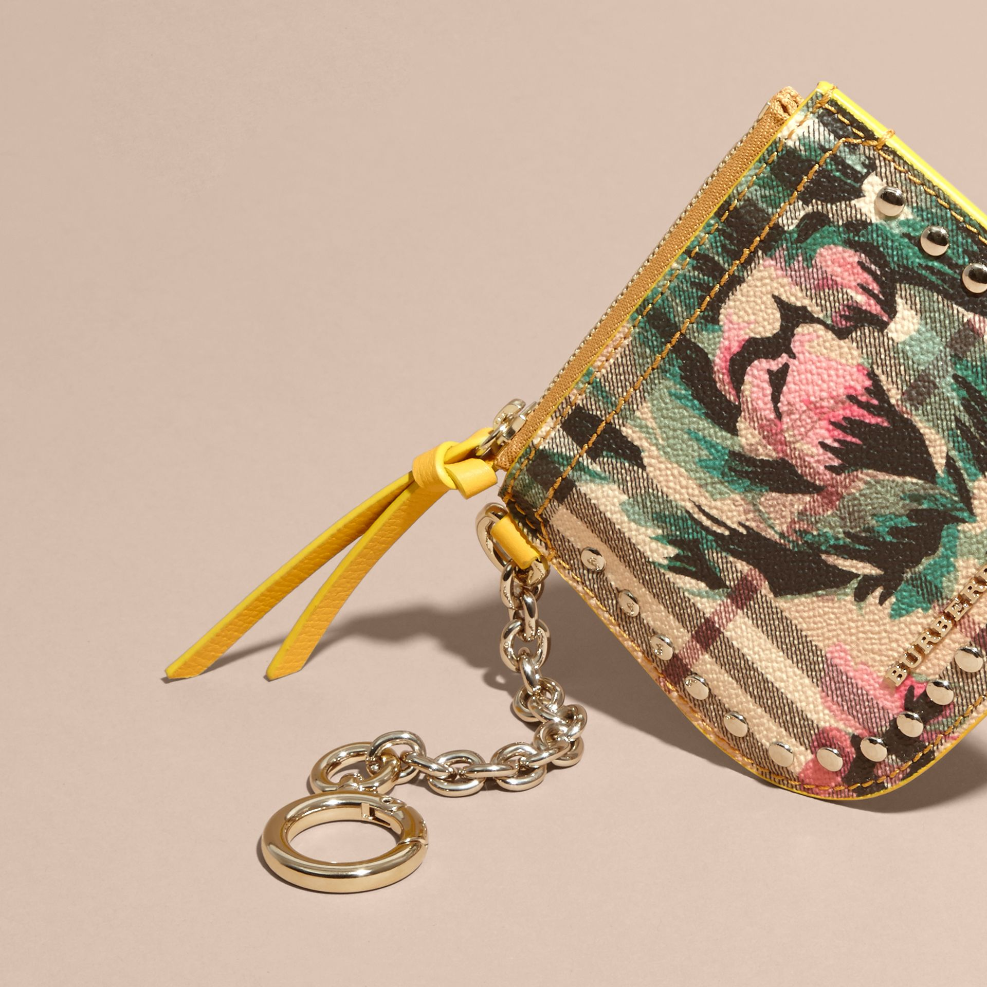 Larch yellow Peony Rose Print Haymarket Check Coin Case - gallery image 3
