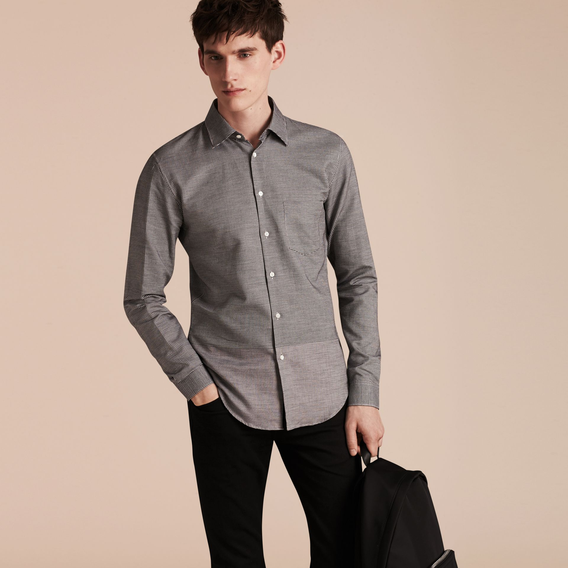 Black Puppytooth Cotton Shirt - gallery image 6