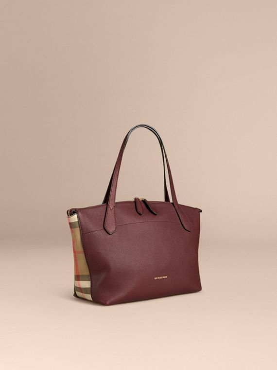 Medium Leather and House Check Tote Bag Mahogany Red