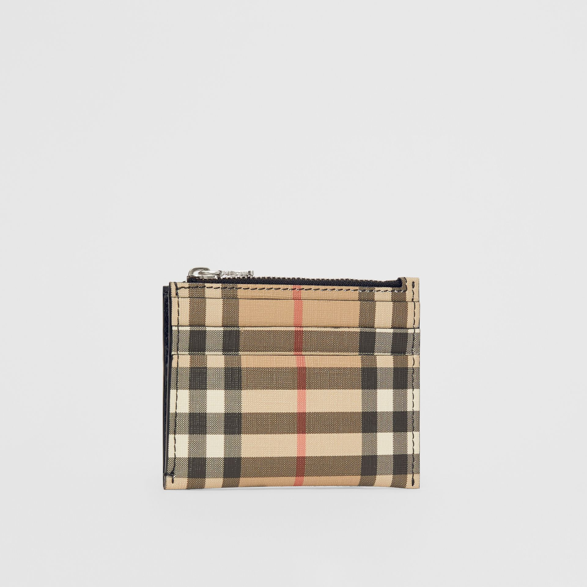 Vintage Check and Leather Zip Card Case in Black - Women | Burberry Australia - gallery image 3