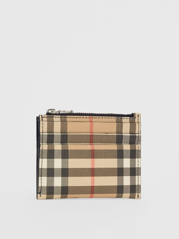 Vintage Check and Leather Zip Card Case in Black - Women | Burberry Australia - cell image 3