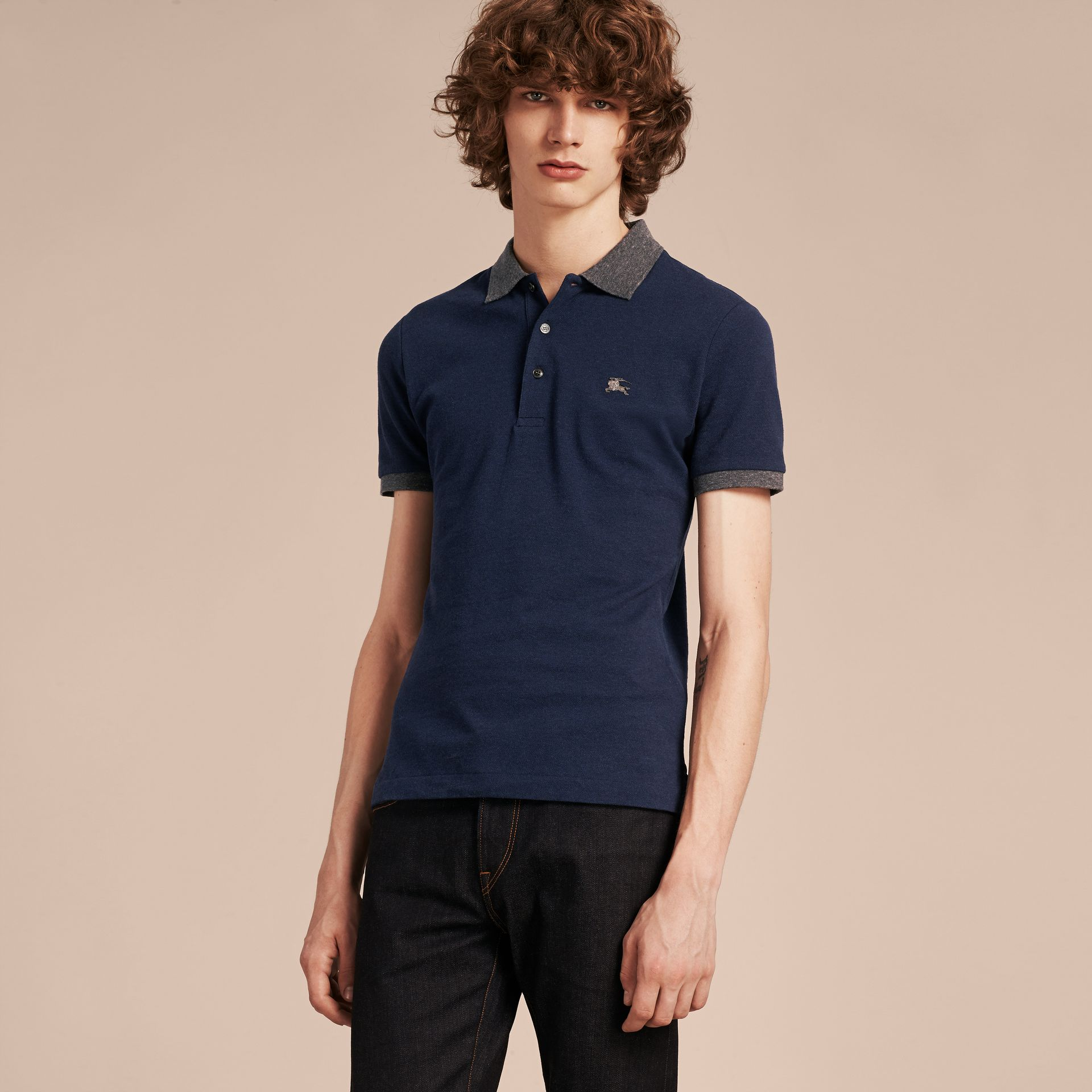 Navy melange Contrast Colour Detail Cotton Piqué Polo Shirt Navy Melange - gallery image 6