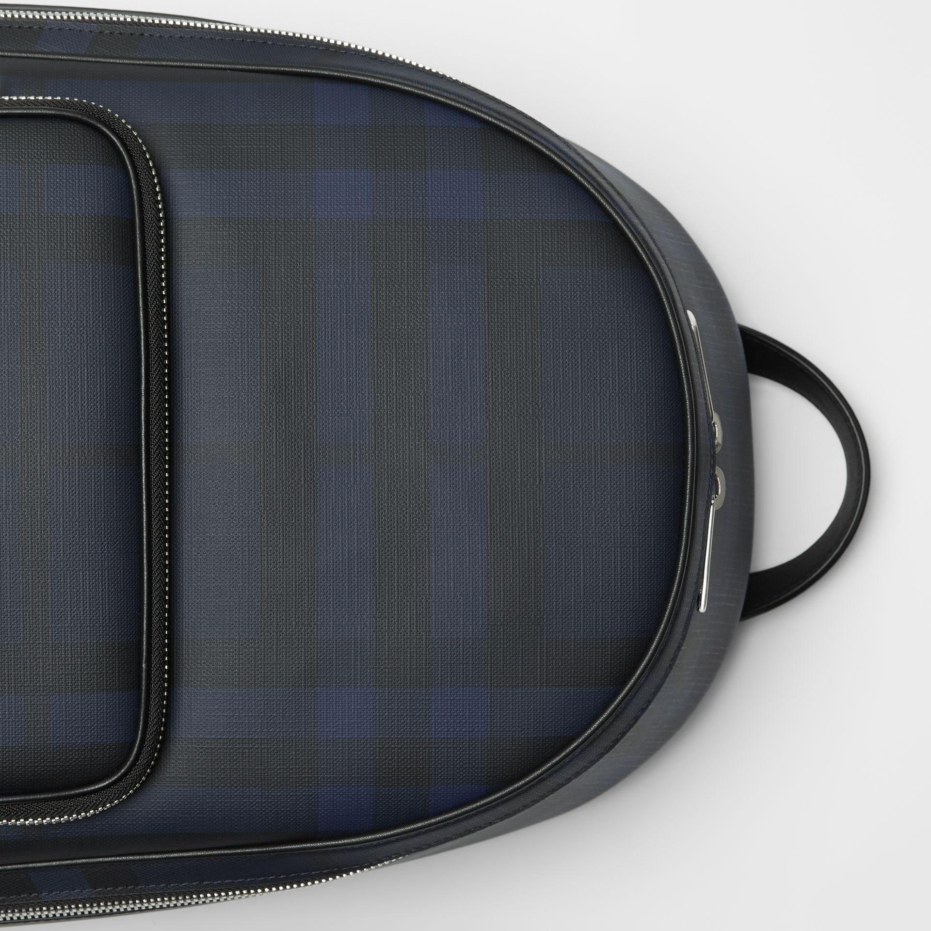 London Check and Leather Backpack in Navy/black - Men | Burberry United Kingdom - gallery image 1