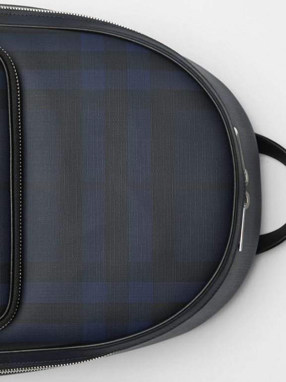 London Check and Leather Backpack in Navy/black - Men | Burberry United Kingdom - cell image 1