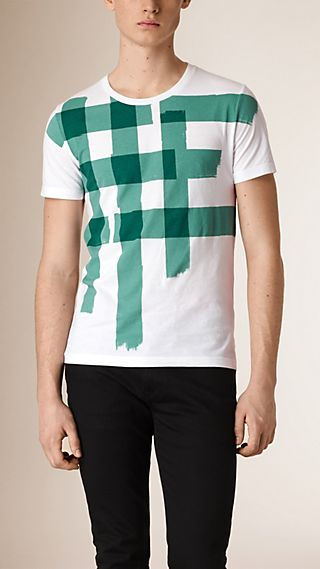 Large Check Print Cotton T-shirt