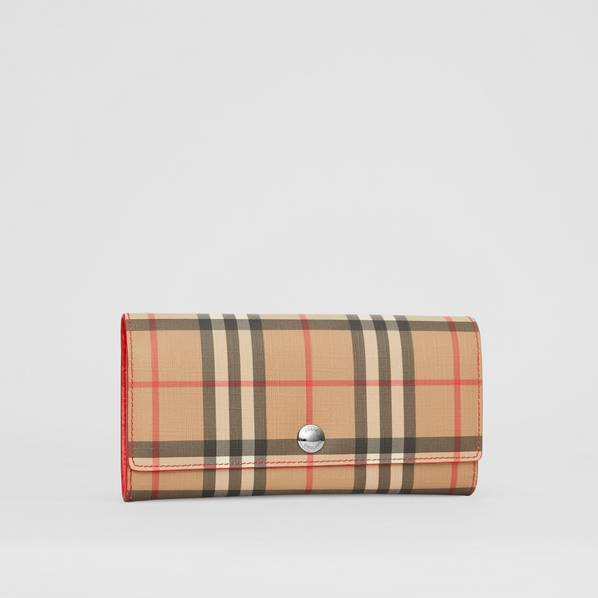 Vintage Check and Leather Continental Wallet in Bright Military Red - Women | Burberry United States - gallery image 4