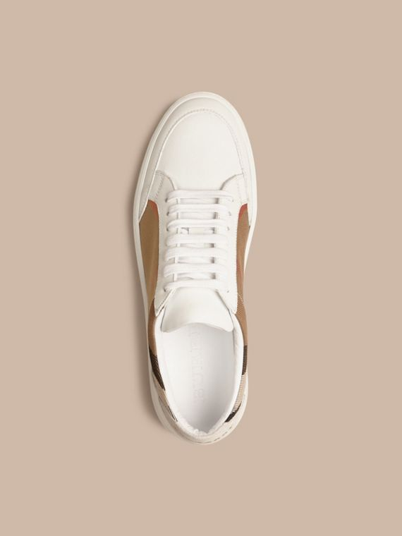 House check/bianco ottico Sneaker in pelle con dettagli check - cell image 2