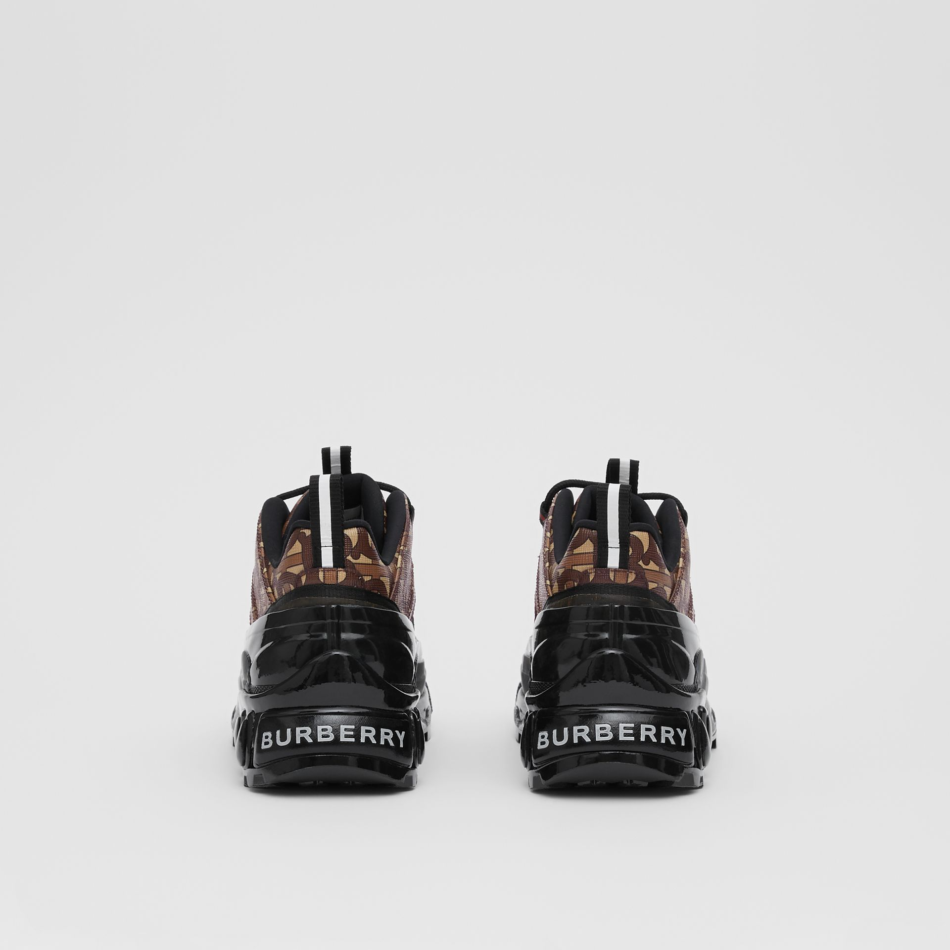 Monogram Print E-canvas and Suede Arthur Sneakers in Bridle Brown - Women | Burberry United States - gallery image 3
