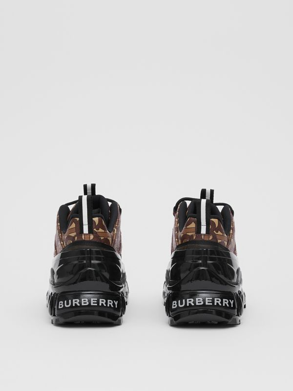 Monogram Print E-canvas and Suede Arthur Sneakers in Bridle Brown - Women | Burberry - cell image 3