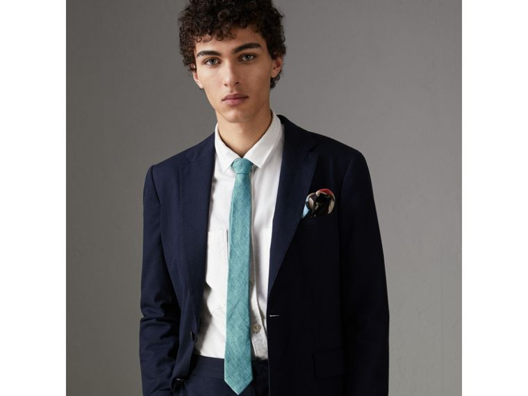 Slim Cut Linen Tie in Pale Turquoise - Men | Burberry - cell image 2