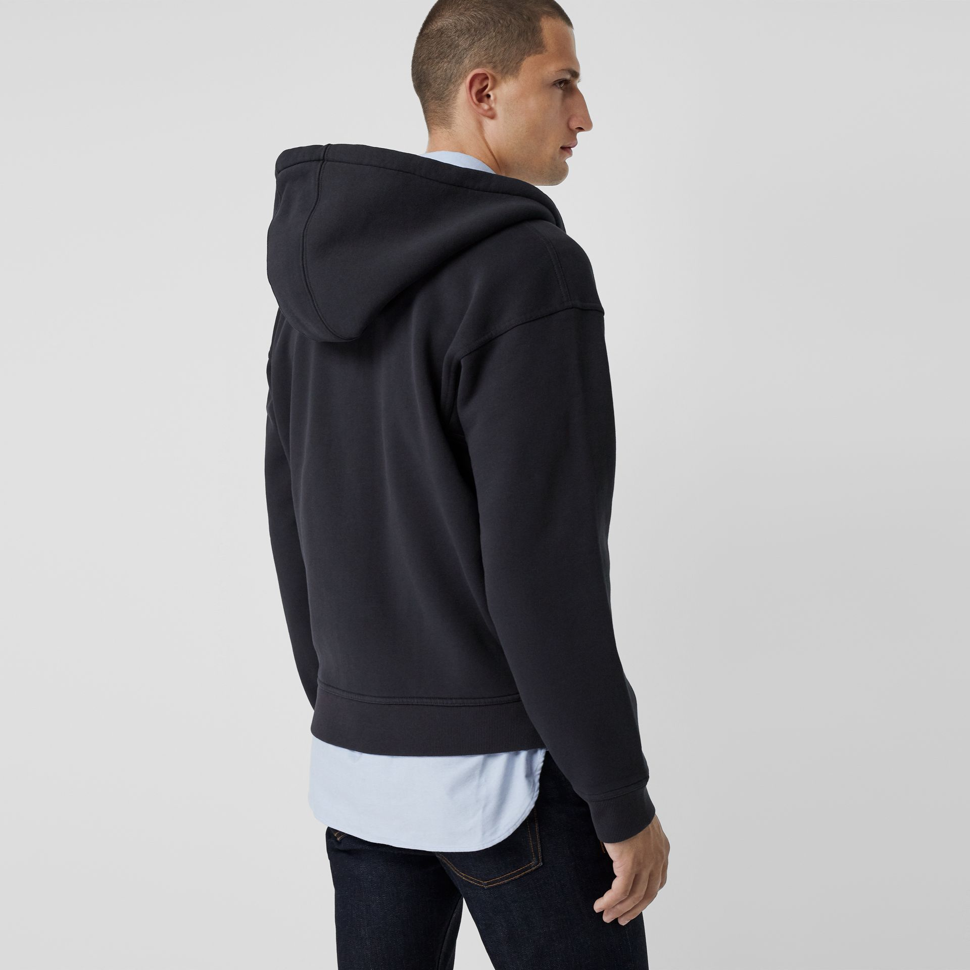 Embroidered Logo Jersey Hooded Top in Navy - Men | Burberry - gallery image 2