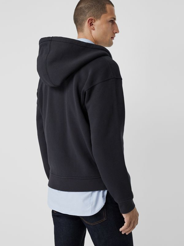 Embroidered Logo Jersey Hooded Top in Navy - Men | Burberry United States - cell image 2