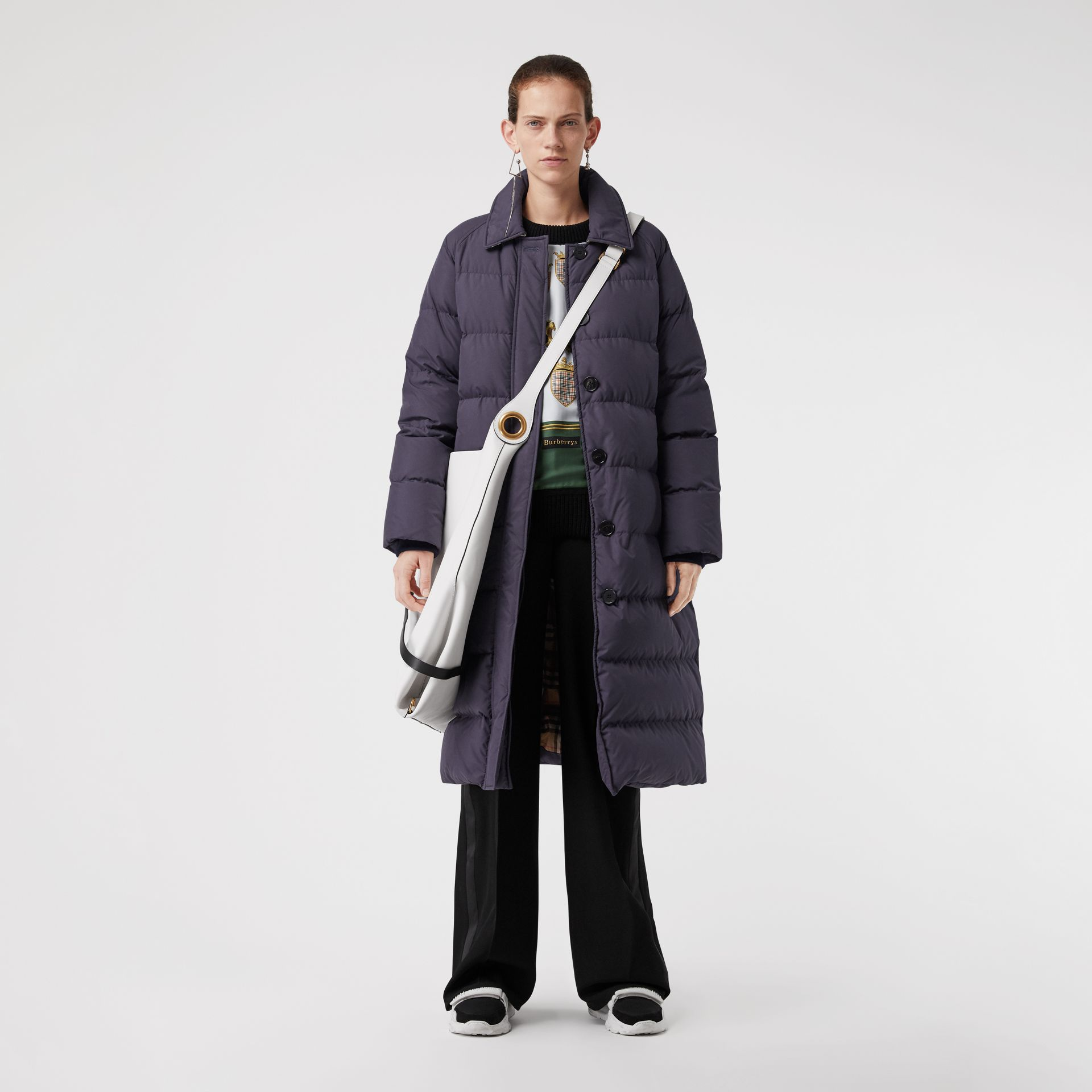 Belted Long Down-filled Puffer Coat in Navy - Women | Burberry - gallery image 0