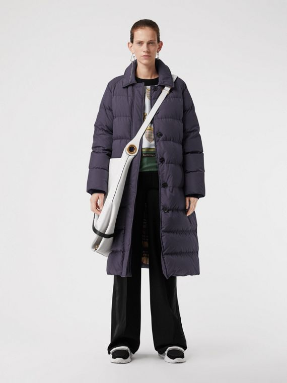 Belted Long Down-filled Puffer Coat in Navy