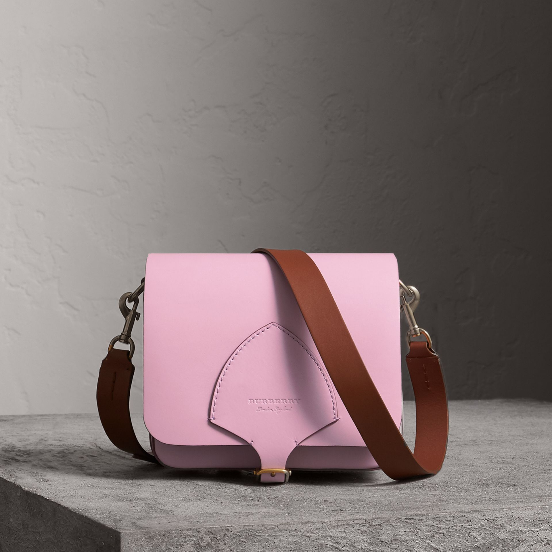 The Square Satchel in Leather in Pale Lavender - Women | Burberry - gallery image 0