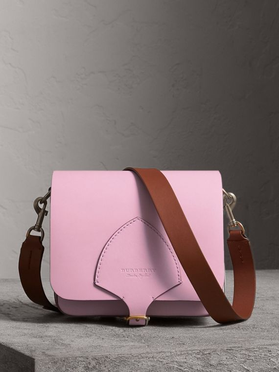 The Square Satchel in Leather in Pale Lavender