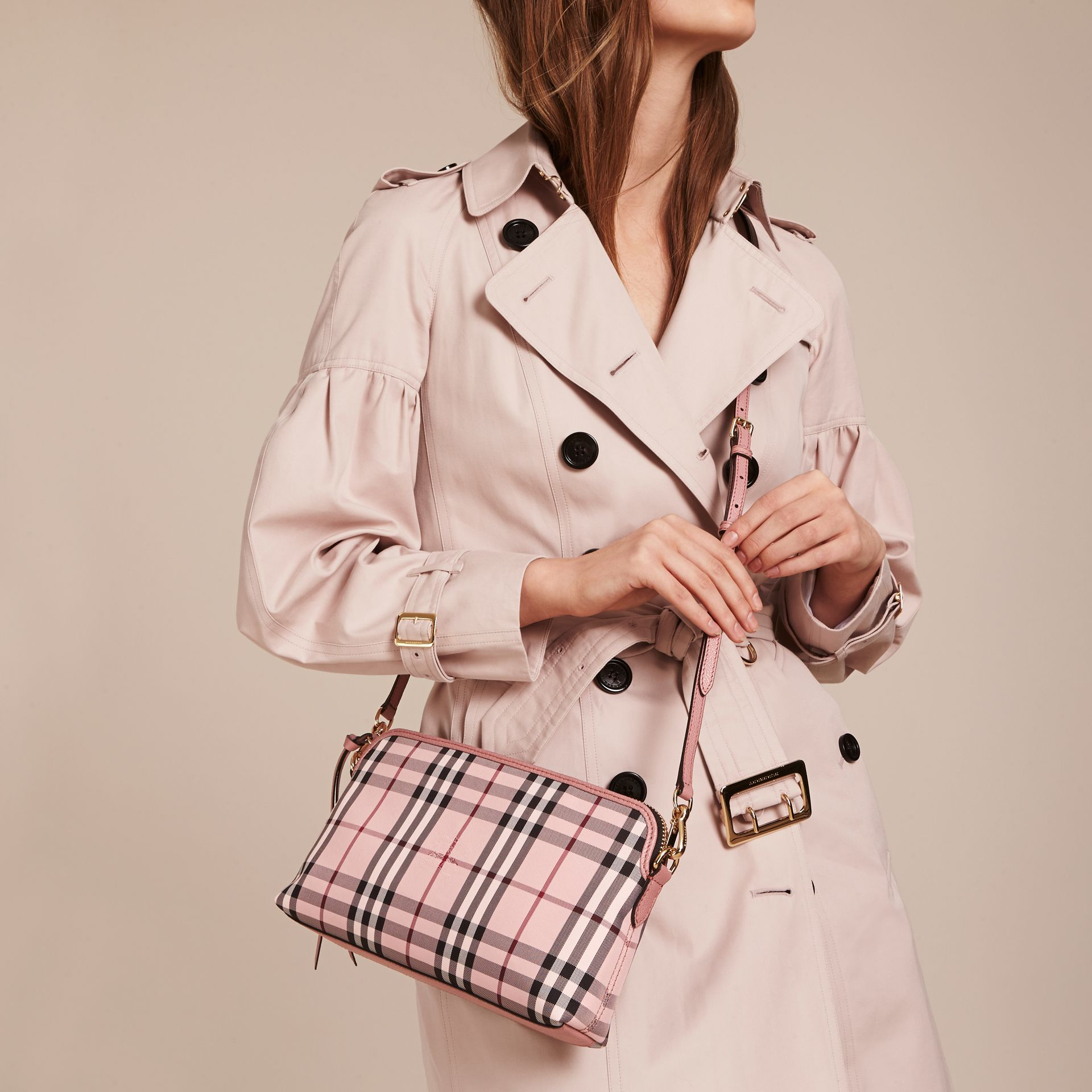 Ash rose/ dusty pink Overdyed Horseferry Check and Leather Clutch Bag - gallery image 10