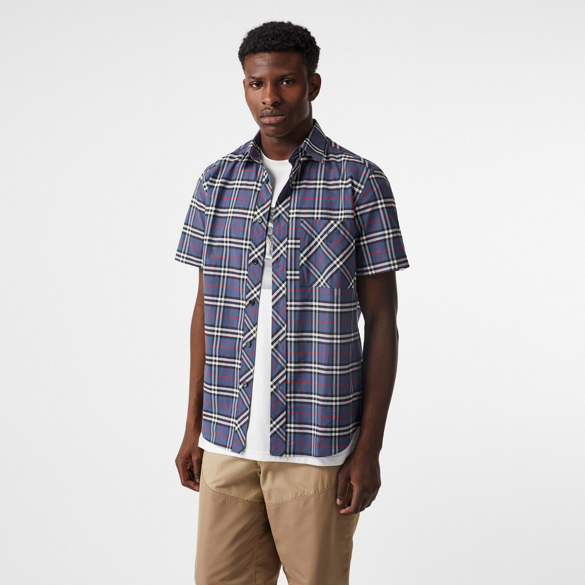 Short-sleeve Small Scale Check Stretch Cotton Shirt in Carbon Blue - Men | Burberry Australia - gallery image 4