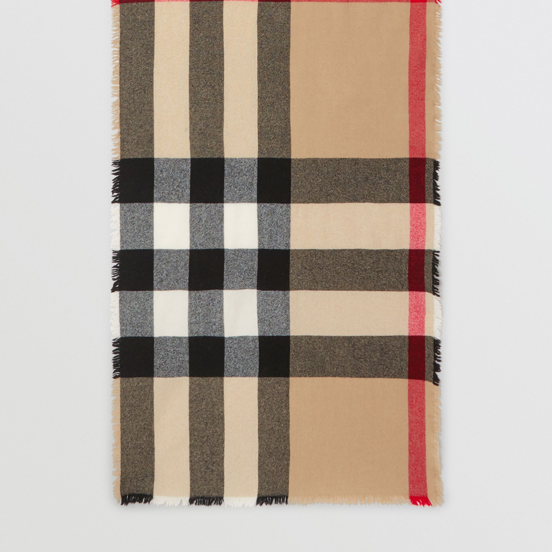 Fringed Check Wool Cashmere Scarf in Camel | Burberry - gallery image 4