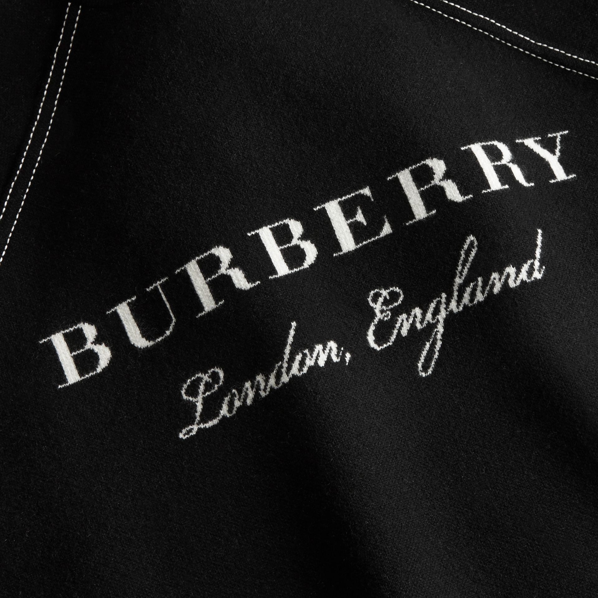 Topstitch Detail Wool Cashmere Blend Sweater in Black - Women | Burberry - gallery image 2
