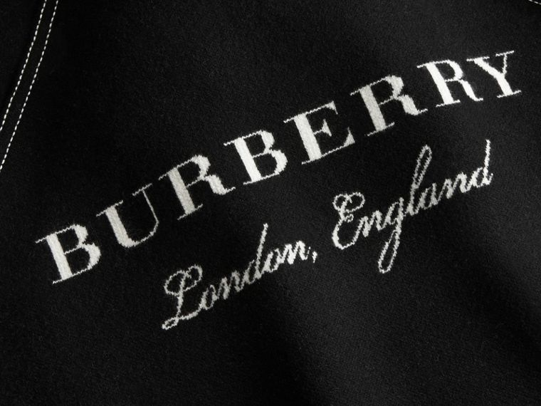 Topstitch Detail Wool Cashmere Blend Sweater in Black - Women | Burberry - cell image 1