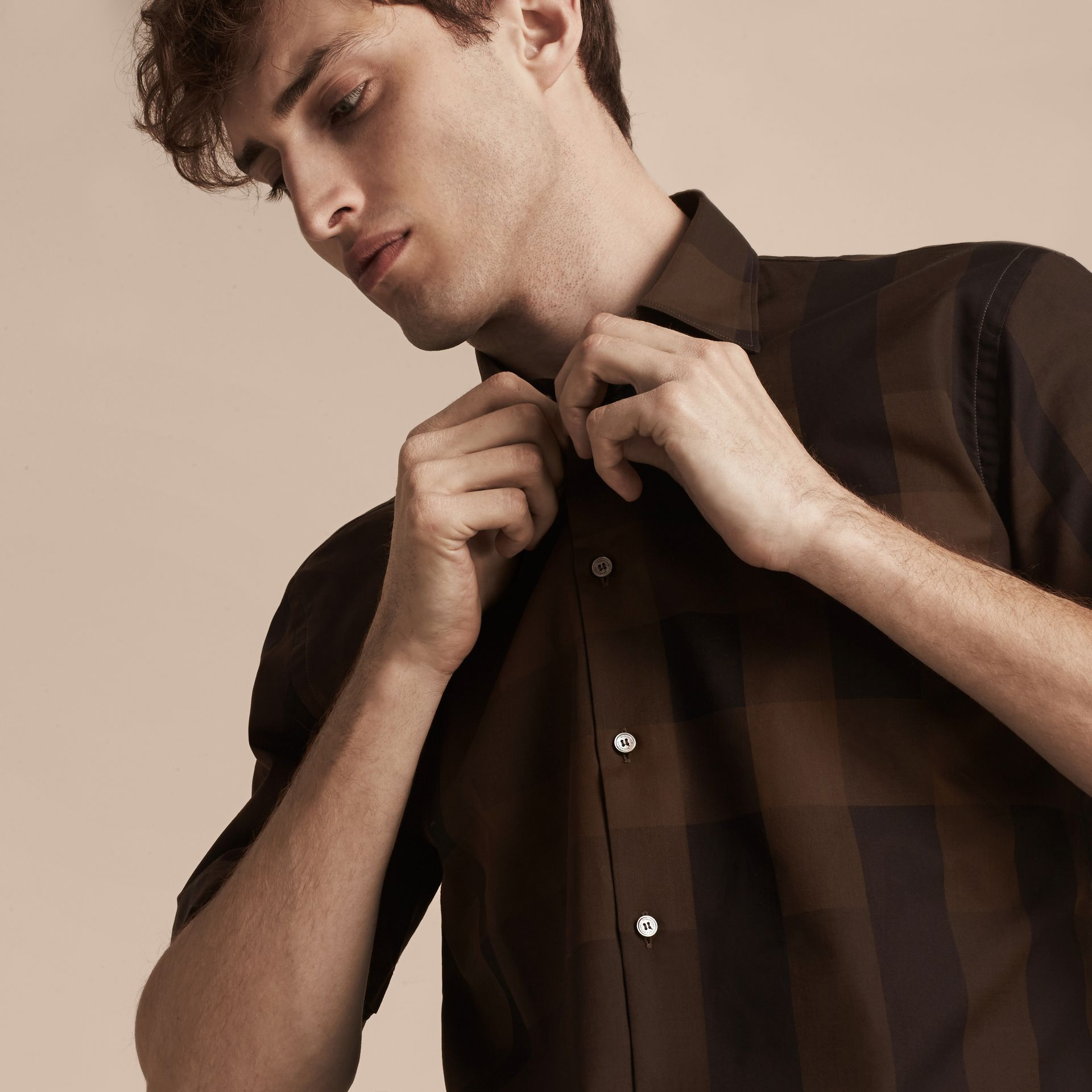 Chocolate check Short-sleeved Check Cotton Shirt Chocolate - gallery image 5