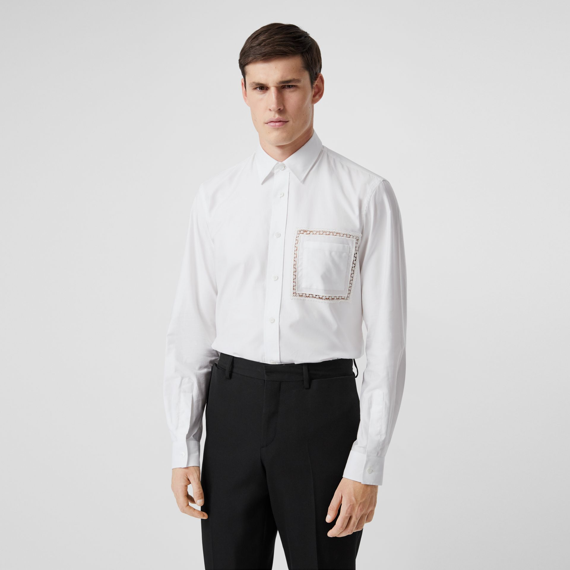 Classic Fit Lace Detail Cotton Poplin Oxford Shirt in Optic White | Burberry United Kingdom - gallery image 0