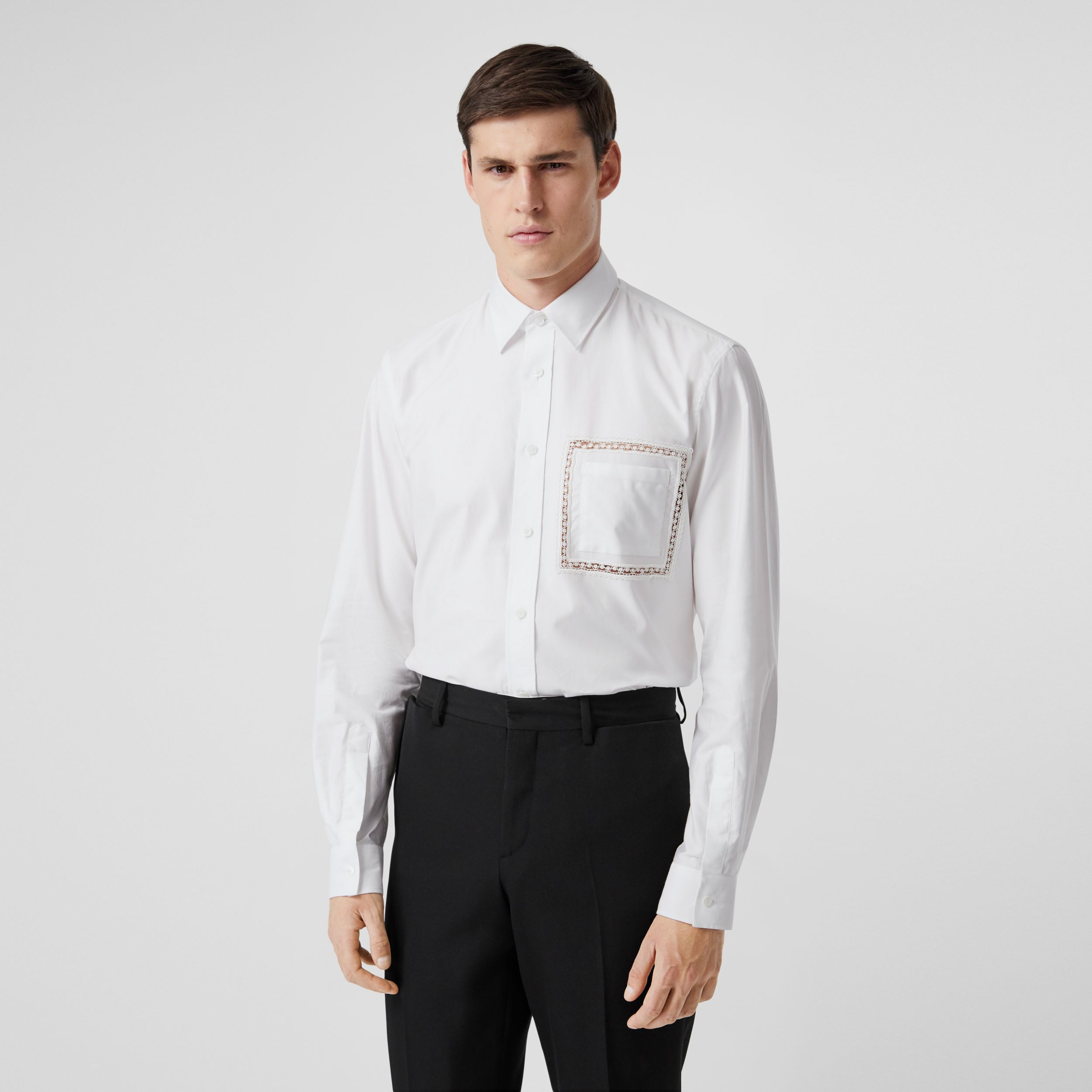 Classic Fit Lace Detail Cotton Poplin Oxford Shirt in Optic White - Men | Burberry - 1
