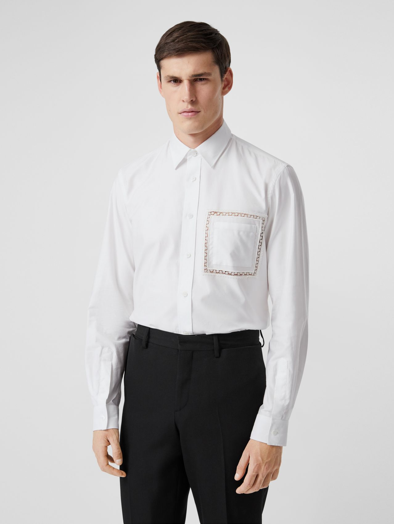 Classic Fit Lace Detail Cotton Poplin Oxford Shirt (Optic White)