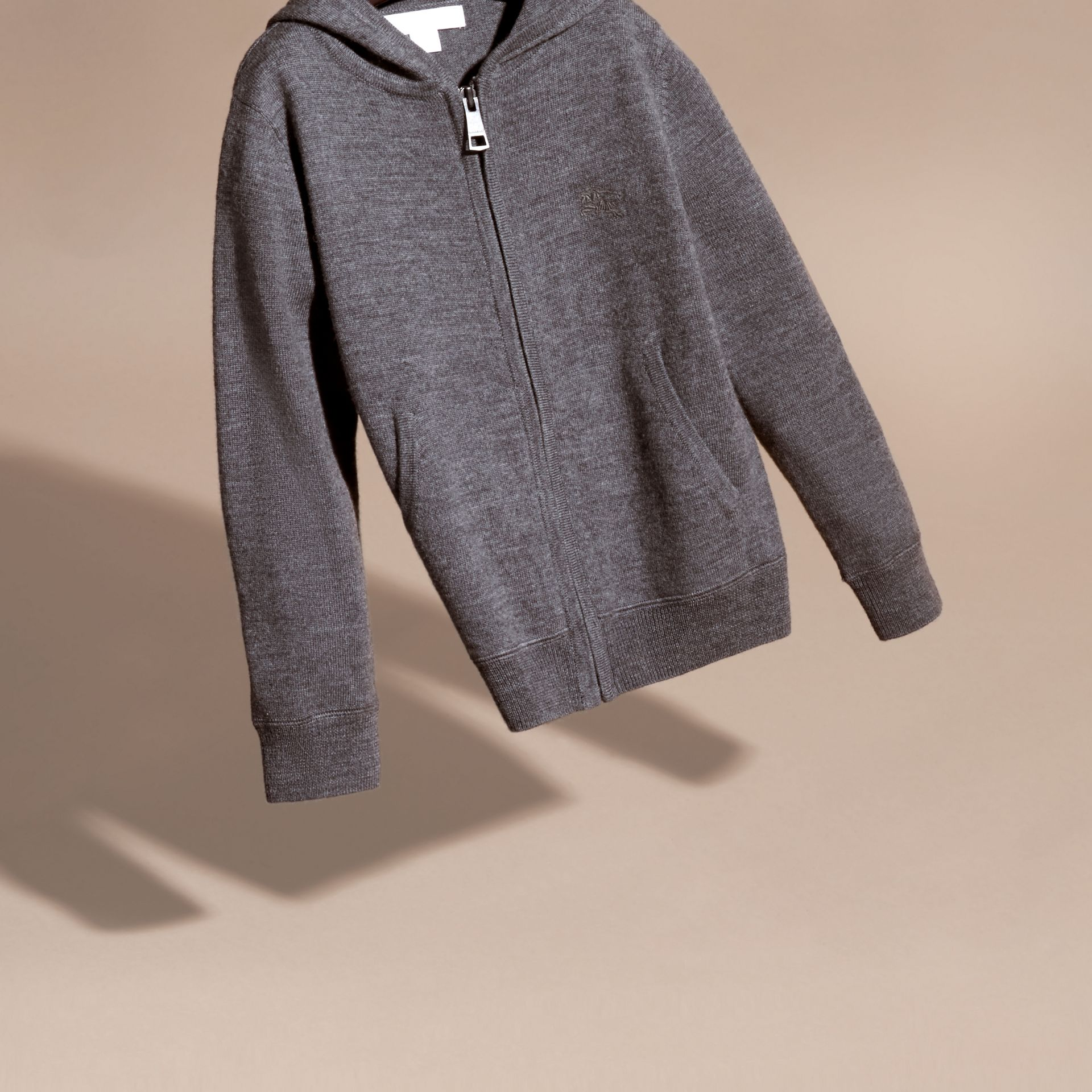 Check Trim Merino Wool Hooded Top in Mid Grey Melange - Boy | Burberry United States - gallery image 2