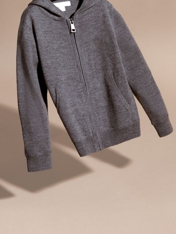 Check Trim Merino Wool Hooded Top in Mid Grey Melange - Boy | Burberry United States - cell image 2