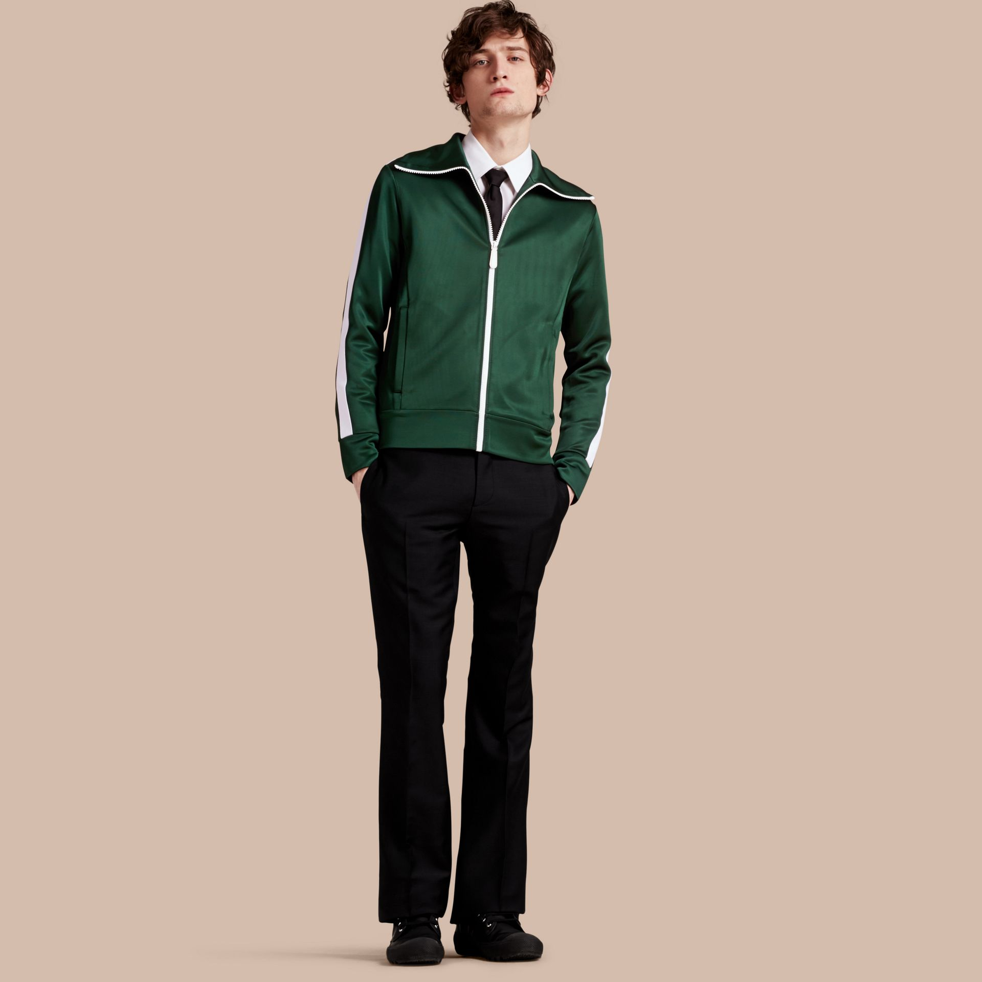 Deep green Stripe Detail Zip Front Jacket Deep Green - gallery image 1