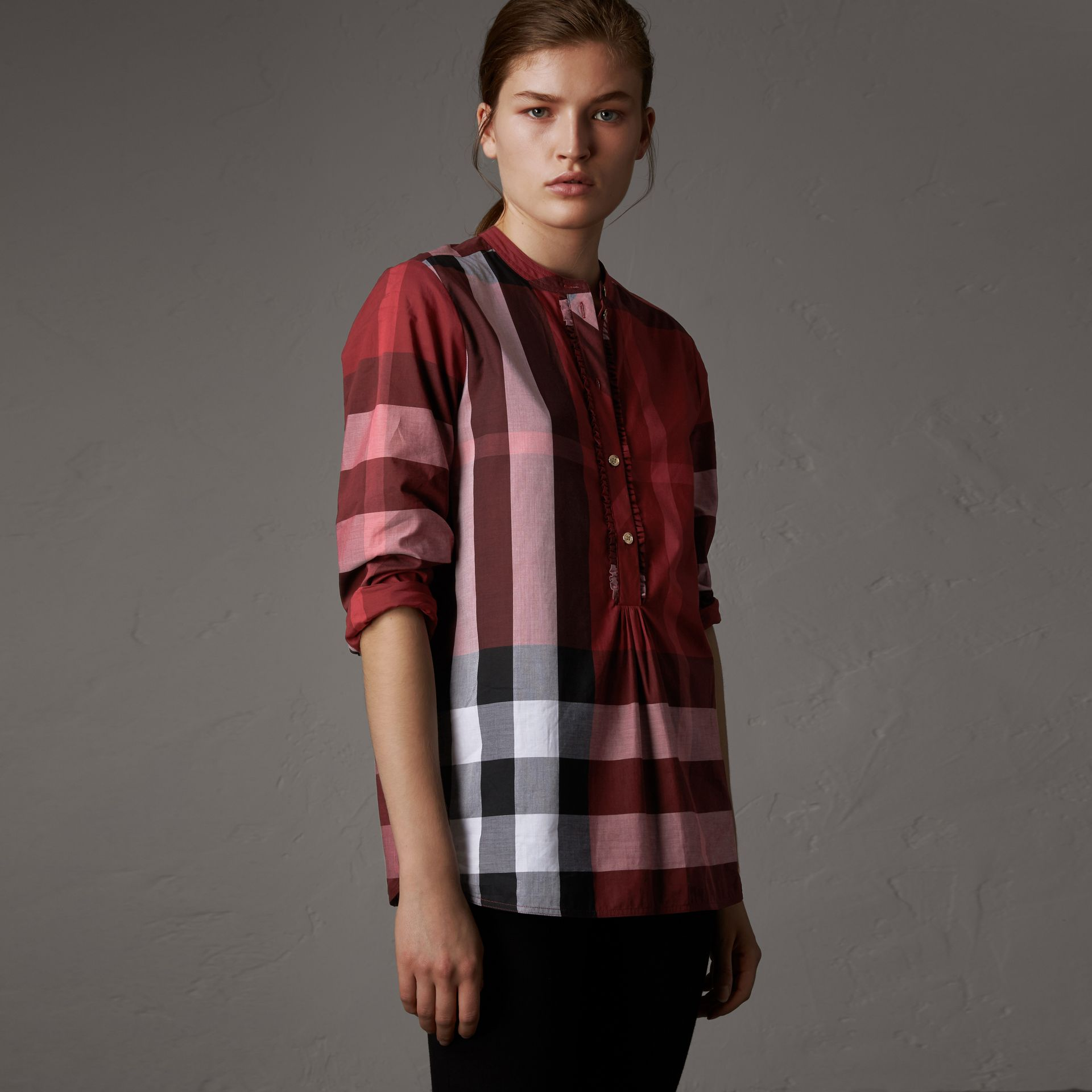 Check Grandad Collar Shirt in Carmine Red - Women | Burberry - gallery image 0
