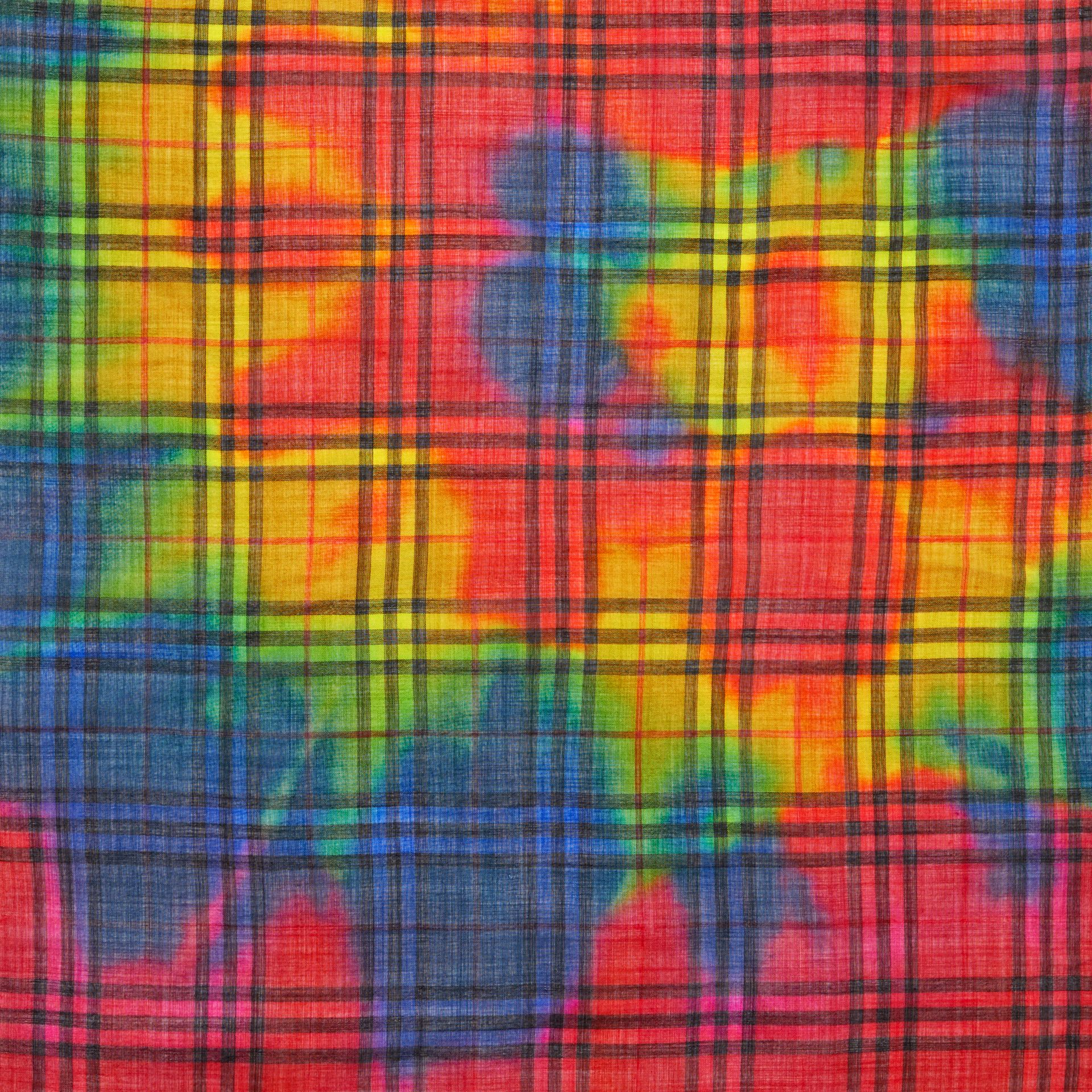 Tie-Dye Vintage Check Wool Silk Large Square Scarf in Multicolour | Burberry - gallery image 1