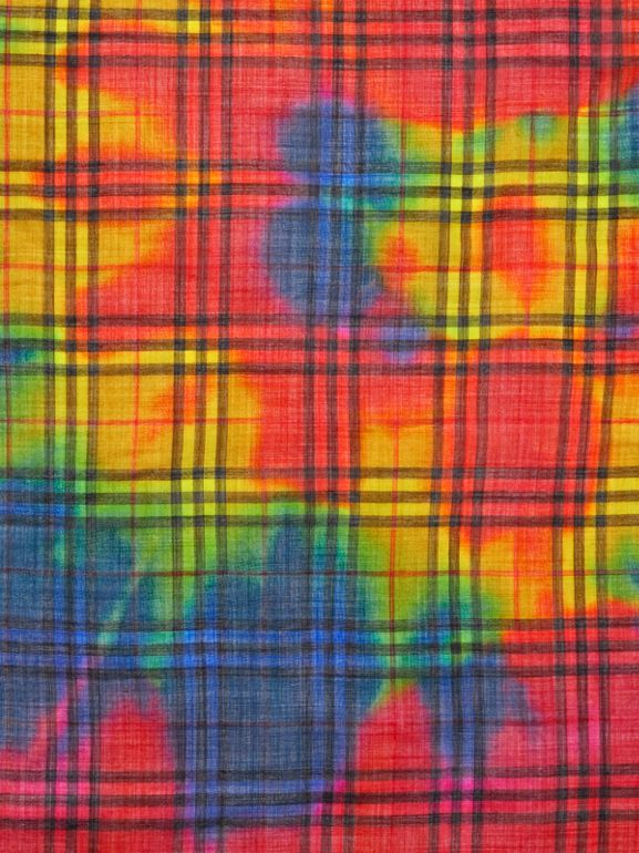 Tie-Dye Vintage Check Wool Silk Large Square Scarf in Multicolour | Burberry - cell image 1