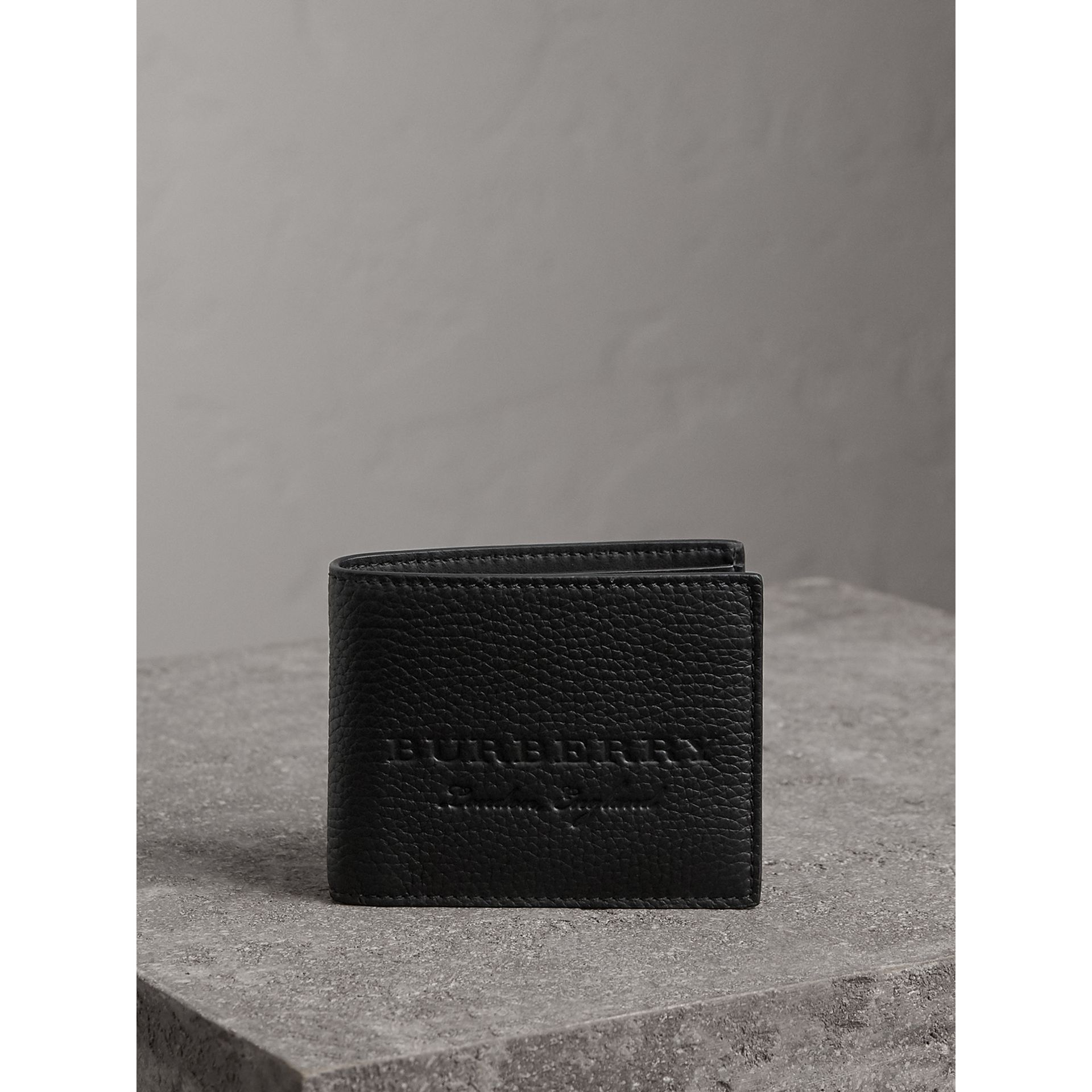 Textured Leather Bifold Wallet in Black - Men | Burberry - gallery image 4