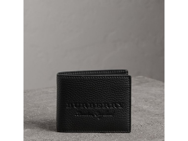 Textured Leather Bifold Wallet in Black - Men | Burberry United States - cell image 4