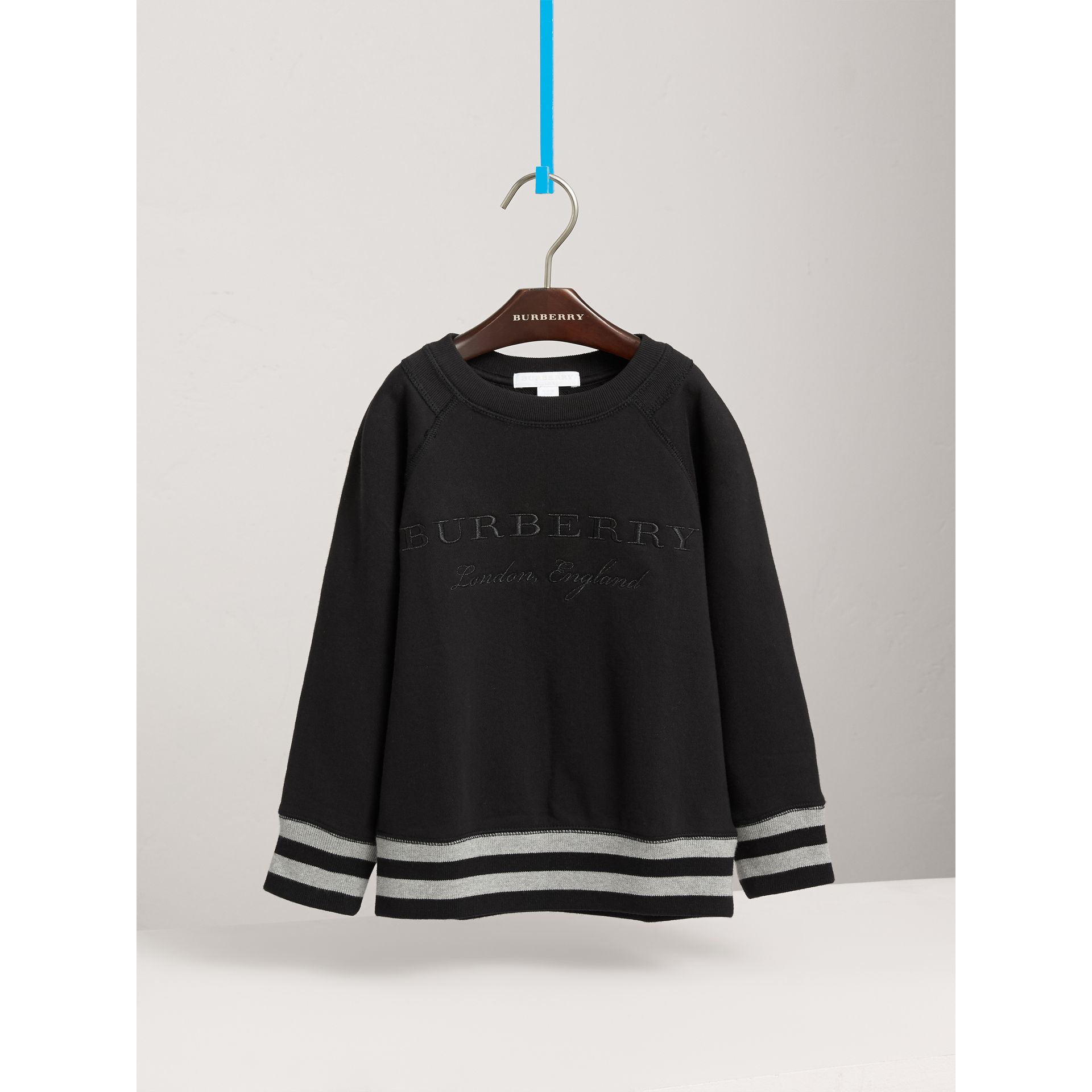 Striped Hem Embroidered Cotton Jersey Sweatshirt in Black - Boy | Burberry United States - gallery image 3