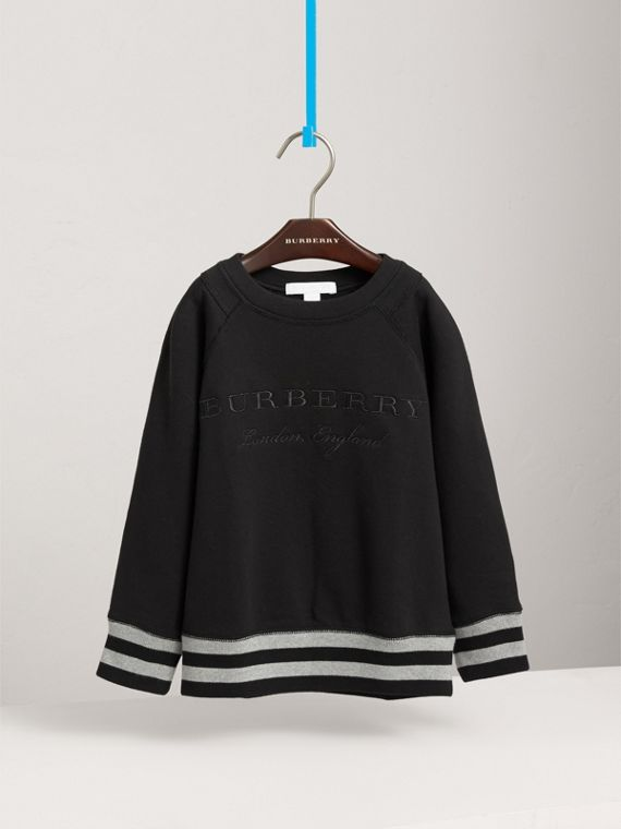 Striped Hem Embroidered Cotton Jersey Sweatshirt in Black - Boy | Burberry Singapore - cell image 2