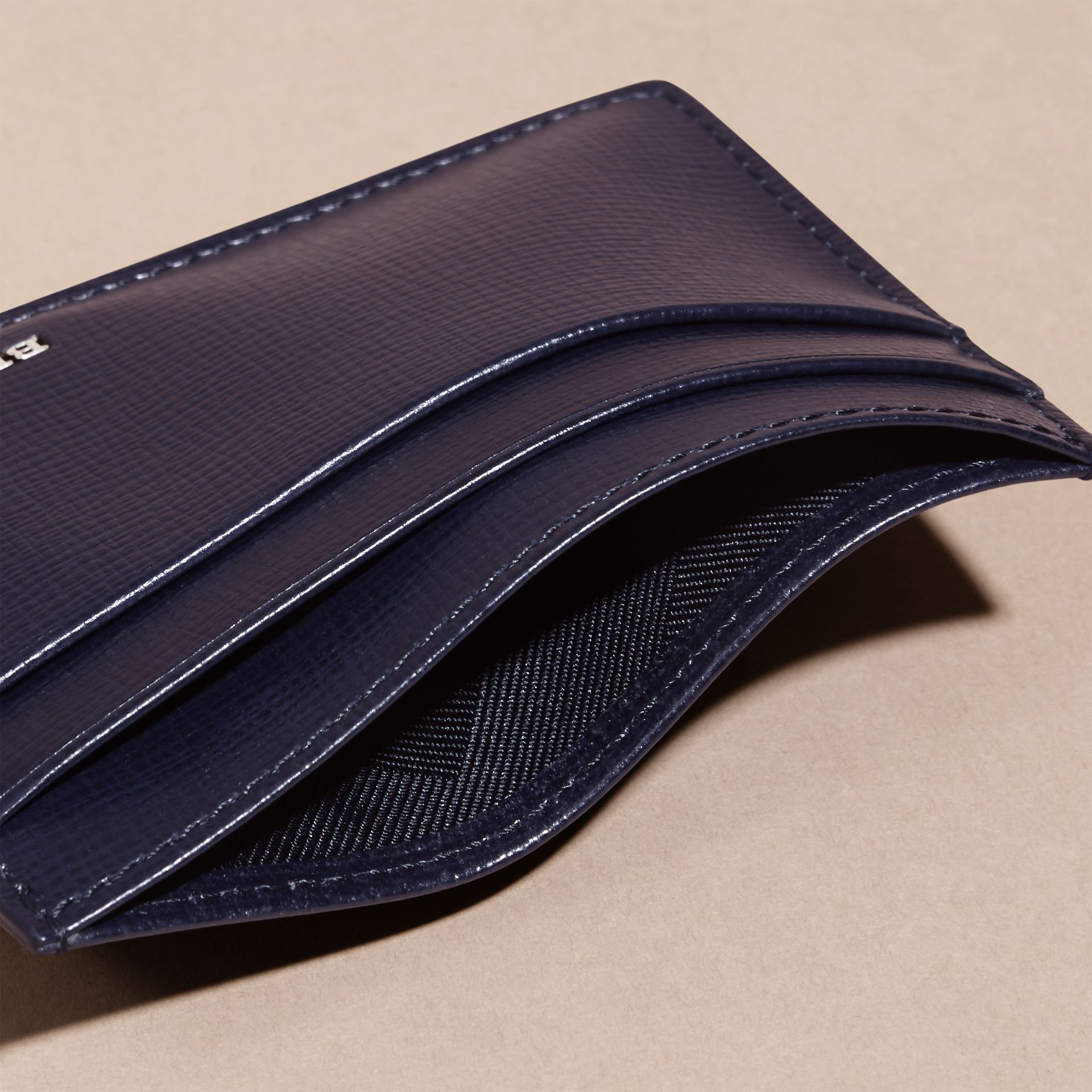 London Leather Card Case in Dark Navy - Men | Burberry - gallery image 5