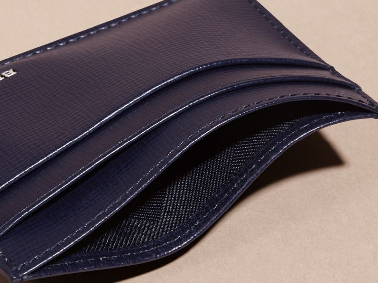 London Leather Card Case in Dark Navy - Men | Burberry - cell image 4