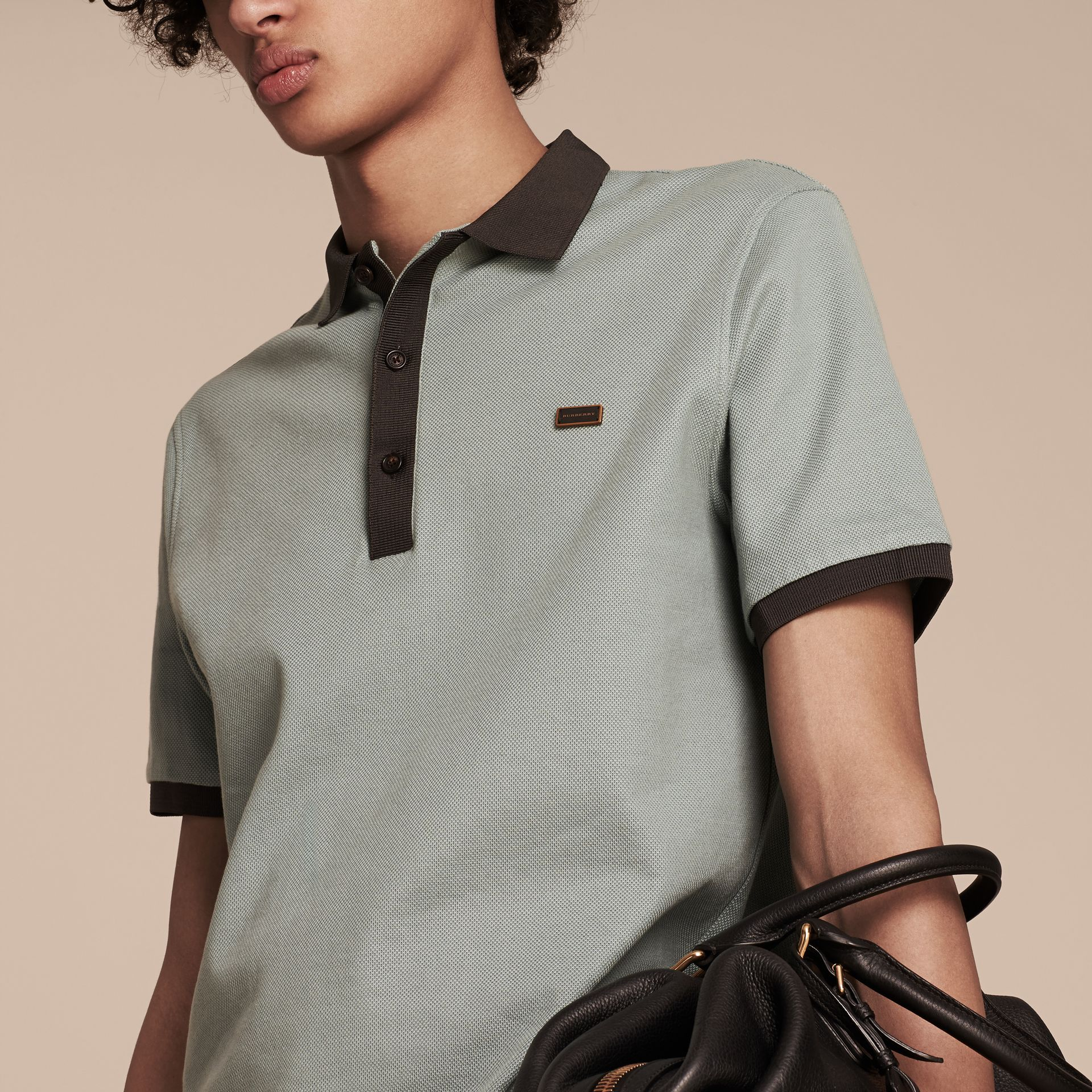 Eucalyptus green/charcoal Mercerised Cotton Piqué Polo Shirt Eucalyptus Green/charcoal - gallery image 4
